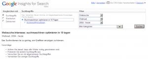 Google insights: Suchmaschinen optimieren in 10 Tagen